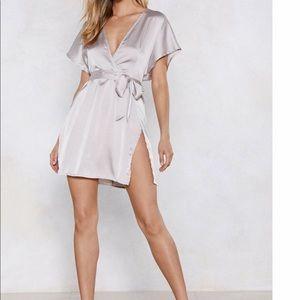 Satin silver dress
